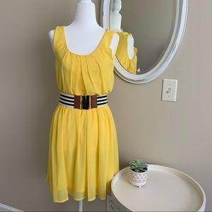 iZ Byer Yellow Sleeveless Blousy Dress w/Belt Sz S